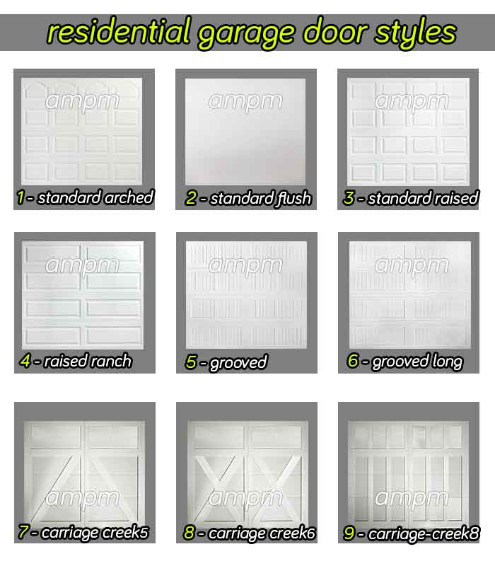 Residential garage door styles