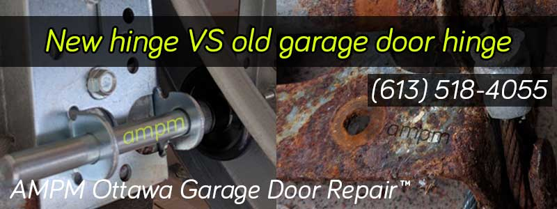 New garage door hinge vs old rusty one