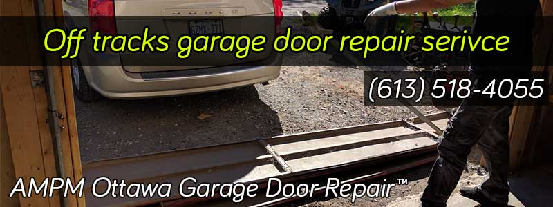 A garage door that is off the tracks