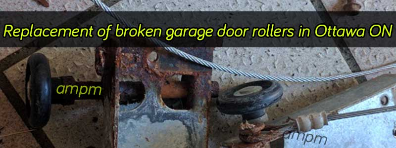 Rusty garage door roller