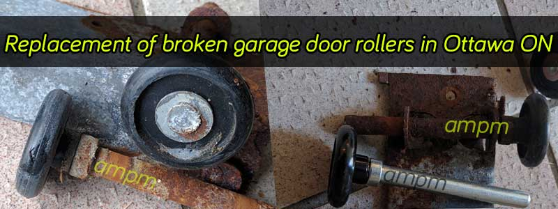 Garage door rollers - before and after